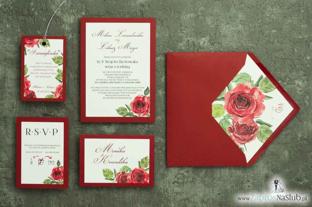 ZAP-30-01 Modne zaproszenia ślubne bordowe z różami - zaprosnaslub.pl zaproszenia na ślub dodatki róże czerwone kwiatowe