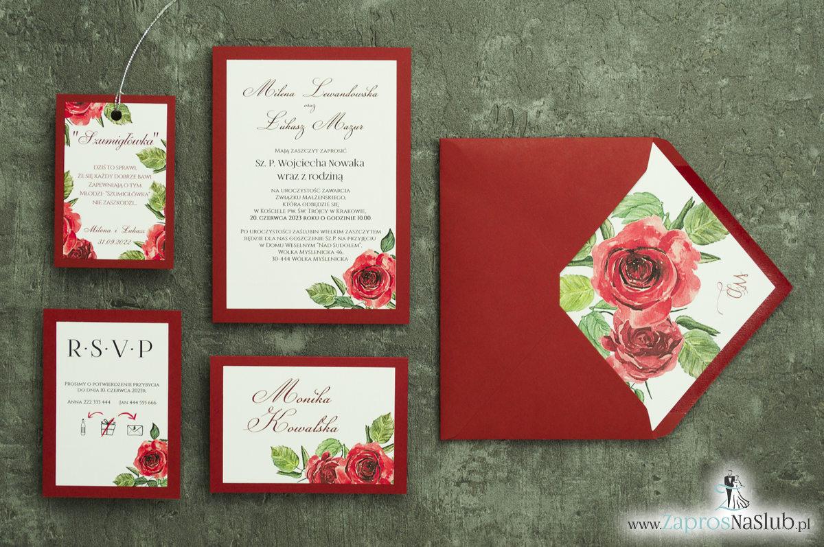 Modne zaproszenia ślubne bordowe z różami. ZAP-30-01