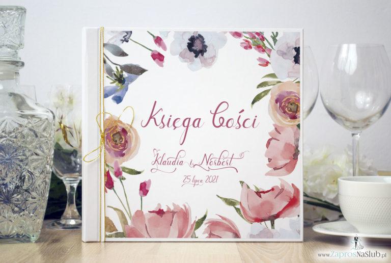 ZaprosNaSlub - Zaproszenia ślubne, personalizowane, boho, rustykalne, kwiatowe księga gości, zawieszki na alkohol, winietki, koperty, plany stołów - Księga gości weselnych z czerwonymi kwiatami polnymi i metalizowanym sznurkiem w kolorze złotym. KSG-10004