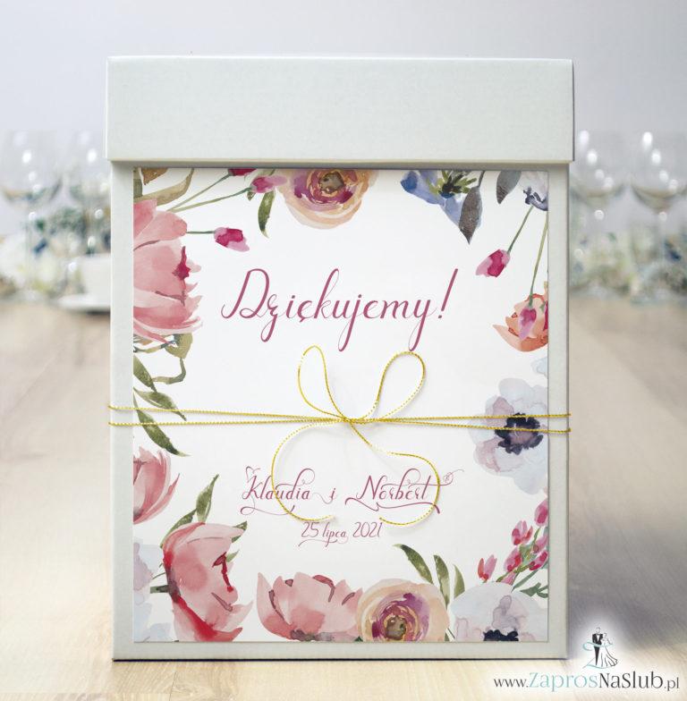 ZaprosNaSlub - Zaproszenia ślubne, personalizowane, boho, rustykalne, kwiatowe księga gości, zawieszki na alkohol, winietki, koperty, plany stołów - Pudełko na koperty z polnymi czerwonymi kwiatami i złotym sznurkiem metalizowanym. PUK-10004
