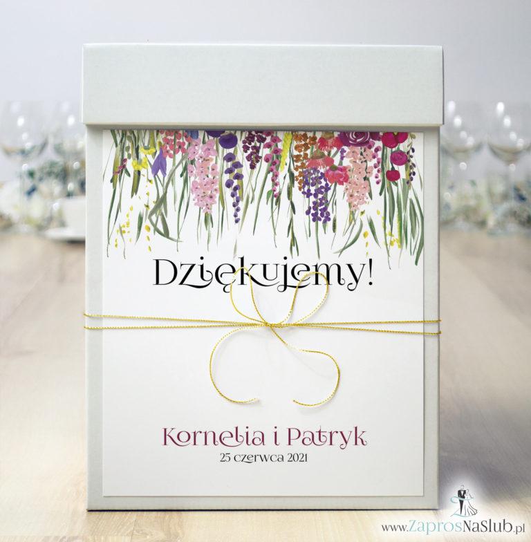Pudełko na koperty z kolorowymi kwiatami polnymi i zieloną trawą oraz złotym sznurkiem metalizowanym. PUK-10006 - ZaprosNaSlub