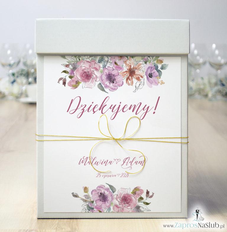 ZaprosNaSlub - Zaproszenia ślubne, personalizowane, boho, rustykalne, kwiatowe księga gości, zawieszki na alkohol, winietki, koperty, plany stołów - Pudełko na koperty z różowymi kwiatami i konturami kwiatów i złotym sznurkiem metalizowanym. PUK-10005