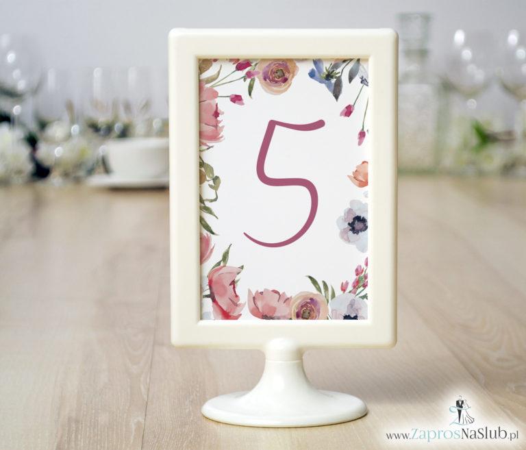 ZaprosNaSlub - Zaproszenia ślubne, personalizowane, boho, rustykalne, kwiatowe księga gości, zawieszki na alkohol, winietki, koperty, plany stołów - Numery stołów z czerwonymi kwiatami polnymi. NRR-10003