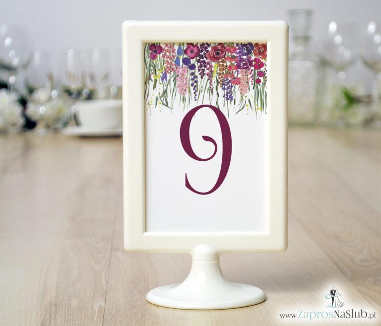 ZaprosNaSlub - Zaproszenia ślubne, personalizowane, boho, rustykalne, kwiatowe księga gości, zawieszki na alkohol, winietki, koperty, plany stołów - Numery stołów z kolorowymi kwiatami polnymi i zieloną trawą. NRR-10001