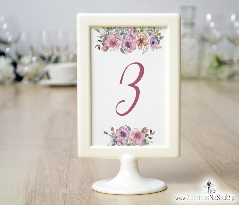 ZaprosNaSlub - Zaproszenia ślubne, personalizowane, boho, rustykalne, kwiatowe księga gości, zawieszki na alkohol, winietki, koperty, plany stołów - Numery stołów z różowymi kwiatami i konturami kwiatów. NRR-10002