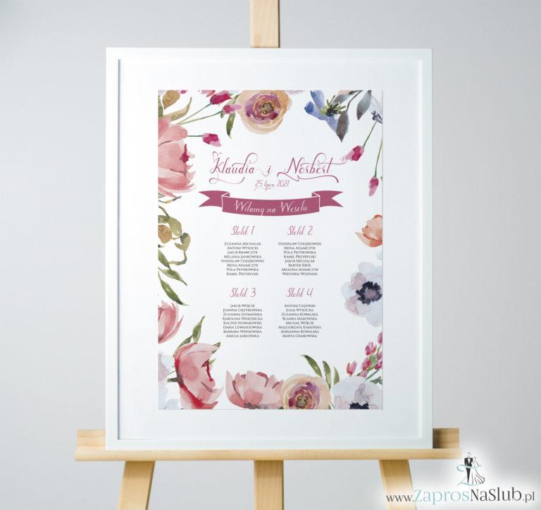 ZaprosNaSlub - Zaproszenia ślubne, personalizowane, boho, rustykalne, kwiatowe księga gości, zawieszki na alkohol, winietki, koperty, plany stołów - Kwiatowa plan stołów / sali – czerwone kwiaty polne. PSD-10004