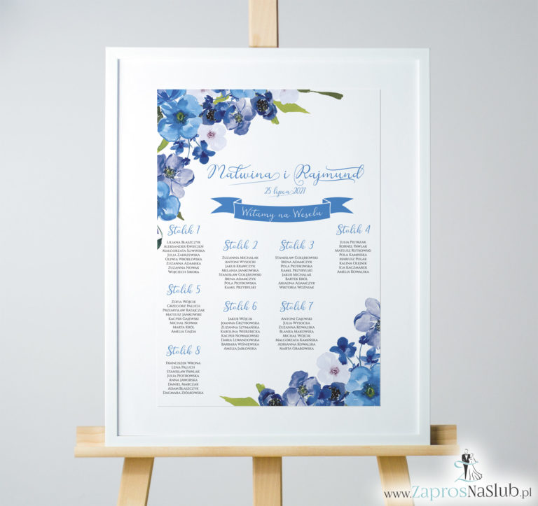 ZaprosNaSlub - Zaproszenia ślubne, personalizowane, boho, rustykalne, kwiatowe księga gości, zawieszki na alkohol, winietki, koperty, plany stołów - Kwiatowa plan stołów / sali – niebieskie kwiaty. PSD-10005