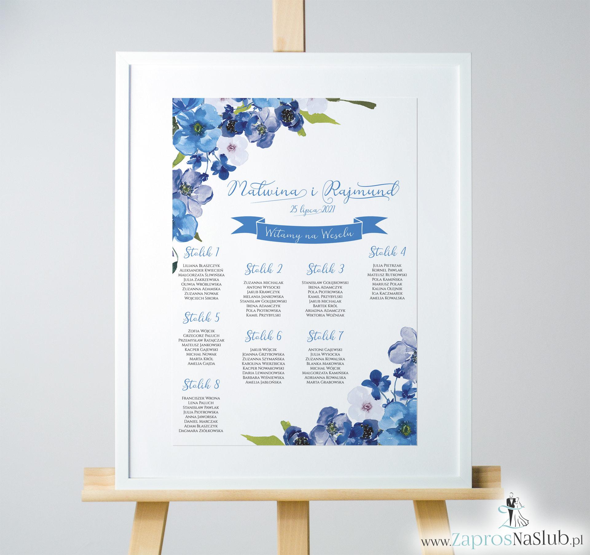 Kwiatowa plan stołów / sali - niebieskie kwiaty. PSD-10005