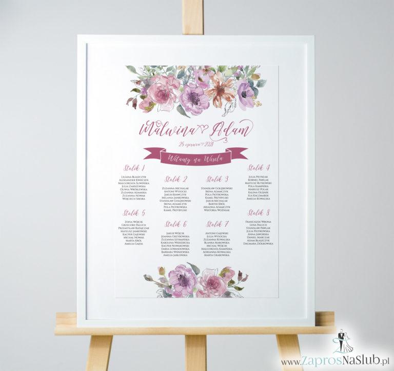 ZaprosNaSlub - Zaproszenia ślubne, personalizowane, boho, rustykalne, kwiatowe księga gości, zawieszki na alkohol, winietki, koperty, plany stołów - Kwiatowa plan stołów / sali – różowe kwiaty i kontury kwiatów. PSD-10003