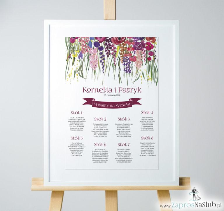 ZaprosNaSlub - Zaproszenia ślubne, personalizowane, boho, rustykalne, kwiatowe księga gości, zawieszki na alkohol, winietki, koperty, plany stołów - Kwiatowa plan stołów / sali – kolorowe kwiaty polne i zielona trawa. PSD-10002