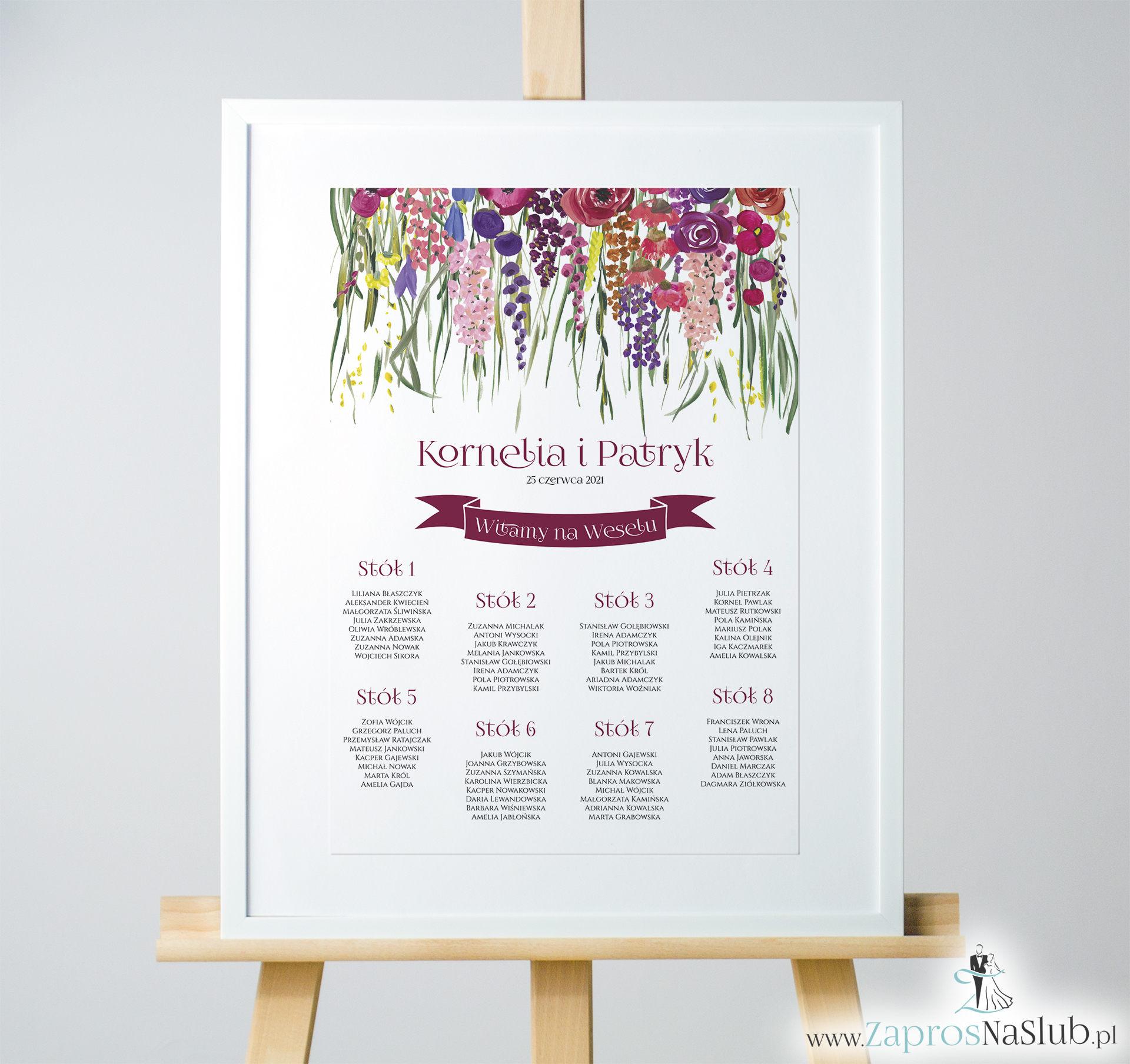 Kwiatowa plan stołów / sali - kolorowe kwiaty polne i zielona trawa. PSD-10002