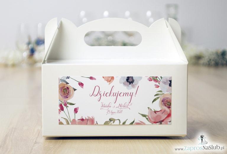 ZaprosNaSlub - Zaproszenia ślubne, personalizowane, boho, rustykalne, kwiatowe księga gości, zawieszki na alkohol, winietki, koperty, plany stołów - Kwiatowe pudełko na ciasto – czerwone kwiaty polne. PDC-10003