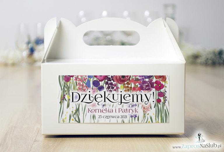 ZaprosNaSlub - Zaproszenia ślubne, personalizowane, boho, rustykalne, kwiatowe księga gości, zawieszki na alkohol, winietki, koperty, plany stołów - Kwiatowe pudełko na ciasto – kolorowe polne kwiaty i zielona trawa. PDC-10001