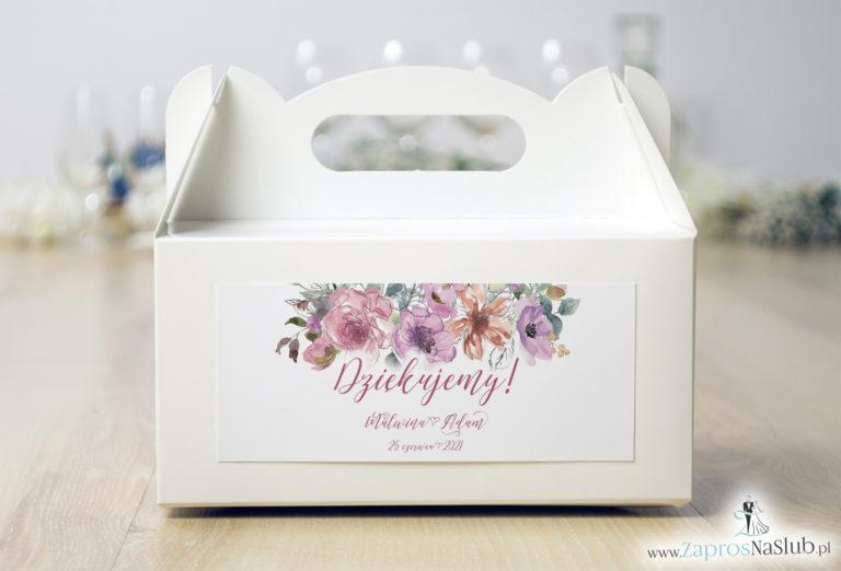 ZaprosNaSlub - Zaproszenia ślubne, personalizowane, boho, rustykalne, kwiatowe księga gości, zawieszki na alkohol, winietki, koperty, plany stołów - Kwiatowe pudełko na ciasto – różowe kwiaty i kontury kwiatów. PDC-10002