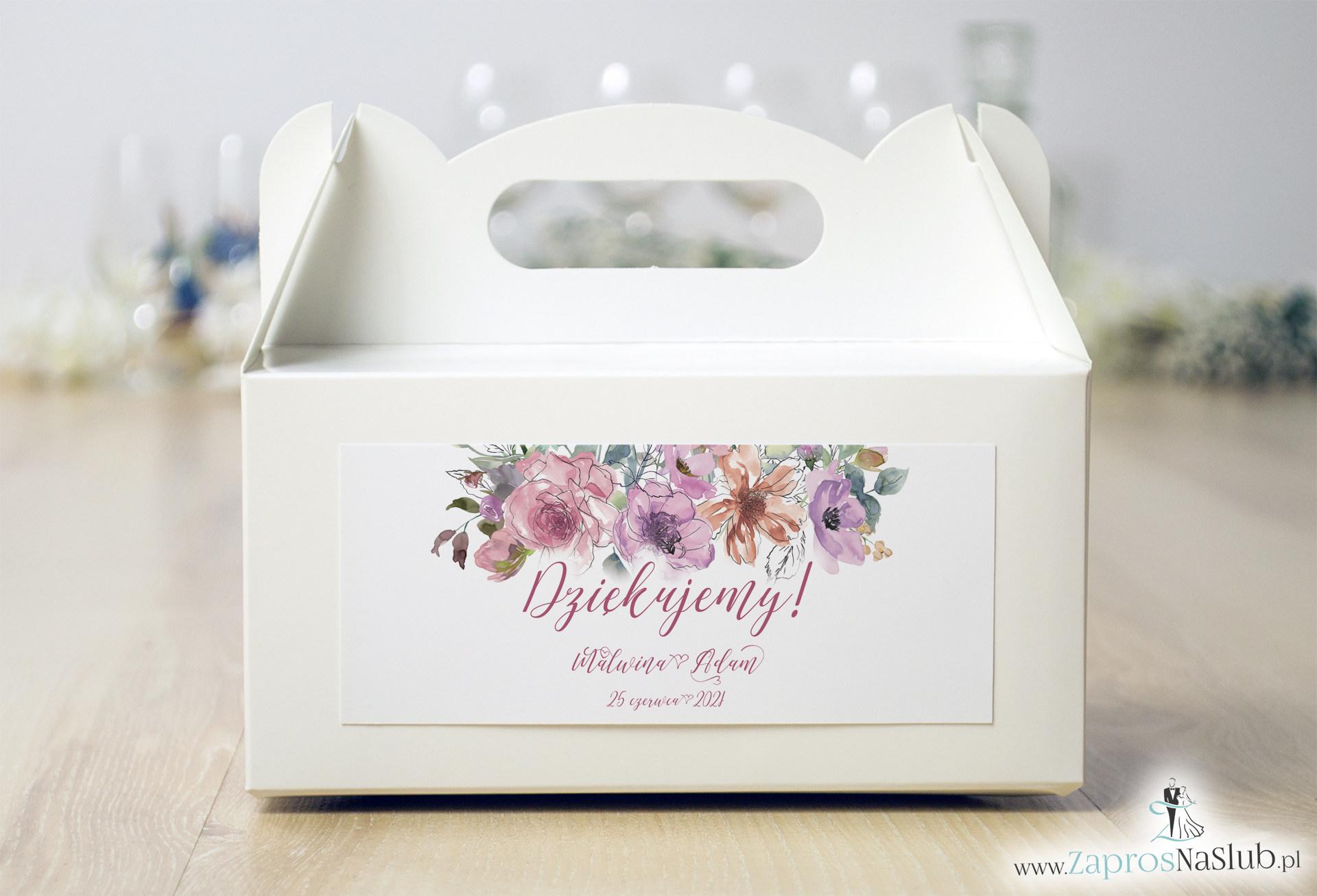 Kwiatowe pudełko na ciasto - różowe kwiaty i kontury kwiatów. PDC-10002