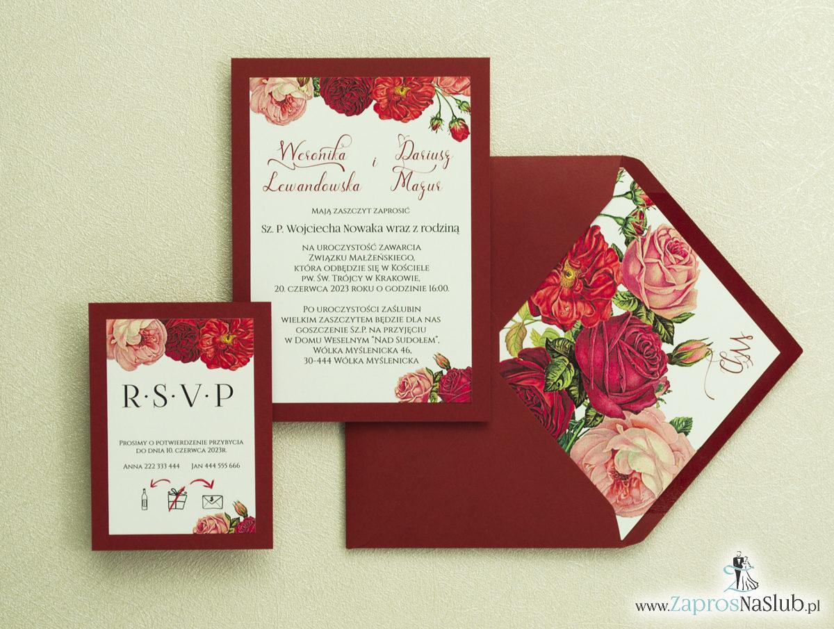 Modne zaproszenia ślubne bordowe z kwiatami w odcieniach czerwieni. ZAP-30-02