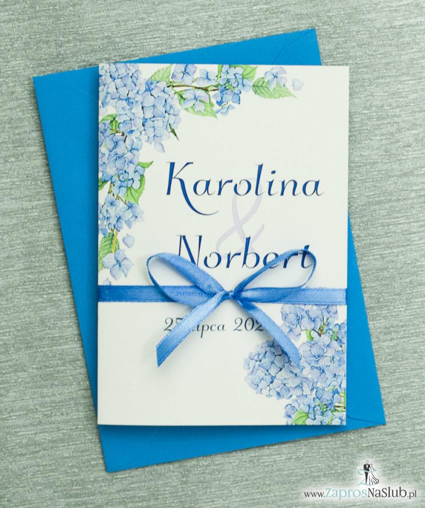 ZAP-35-06 Kwiatowe zaproszenia ślubne z niebieską hortensją