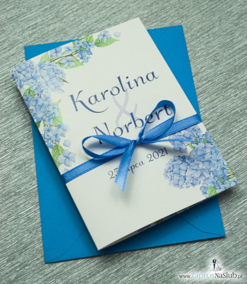 ZAP-35-06 Kwiatowe zaproszenia ślubne z niebieską hortensją hortensje 2020
