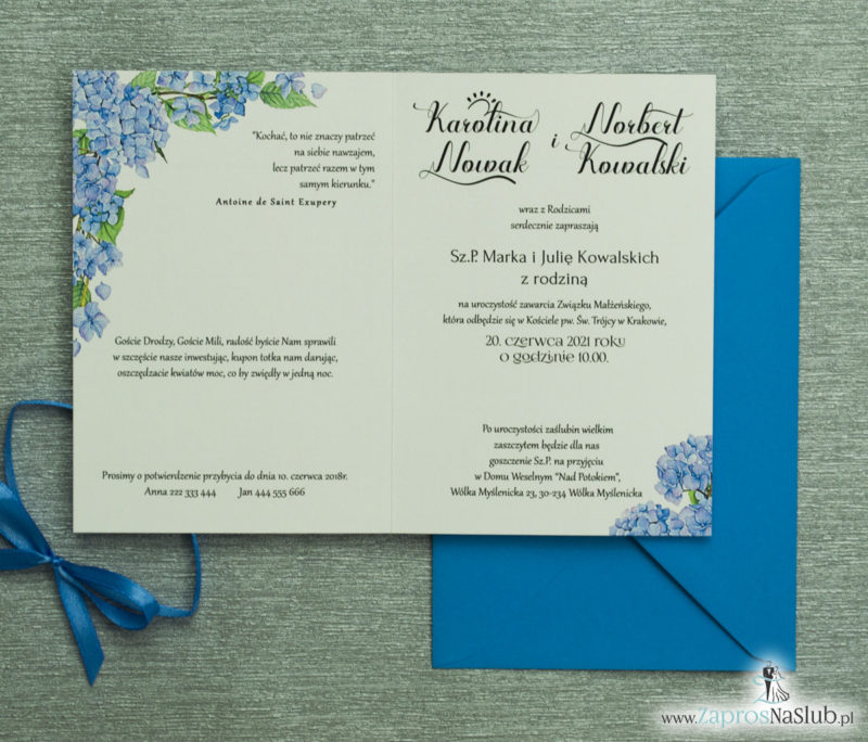 ZAP-35-06 Kwiatowe zaproszenia ślubne z niebieską hortensją kwiatowe wnętrze