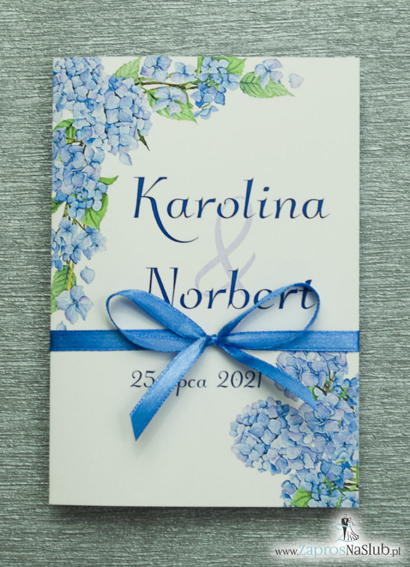 ZAP-35-06 Kwiatowe zaproszenia ślubne z niebieską hortensją kwiaty niebieskie