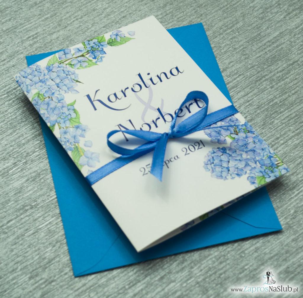 ZAP-35-06 Kwiatowe zaproszenia ślubne z niebieską hortensją kwiaty polne