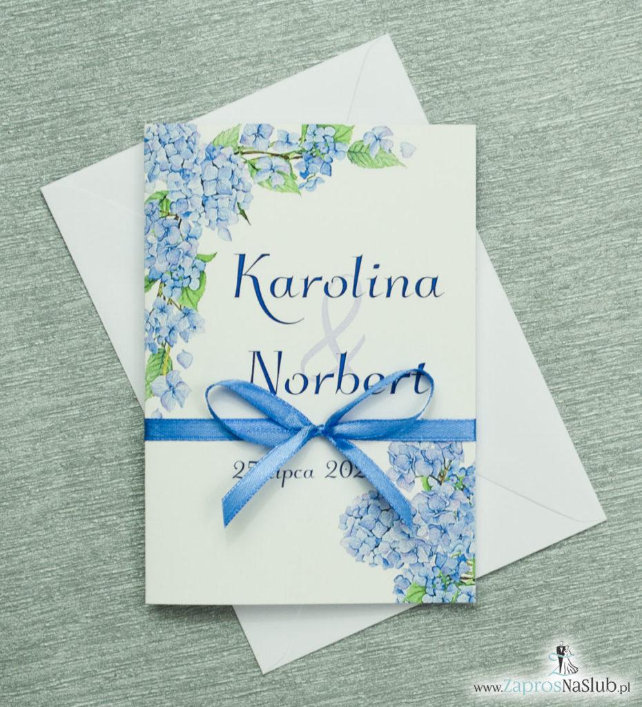 ZAP-35-06 Kwiatowe zaproszenia ślubne z niebieską hortensją modne zaproszenia dodatki slubne