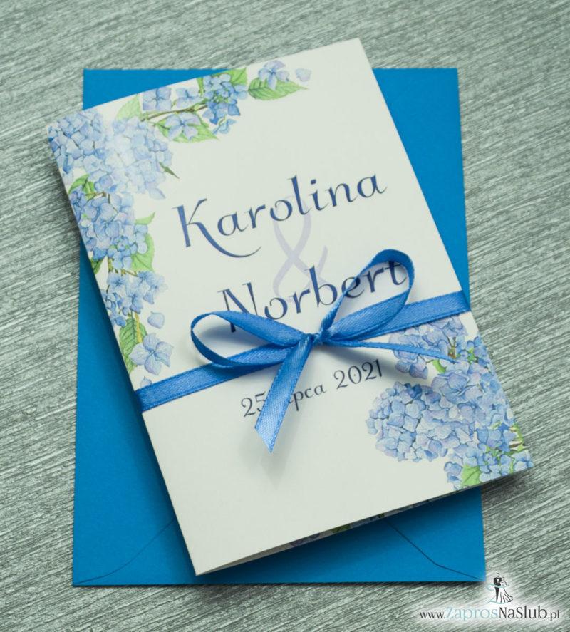 ZAP-35-06 Kwiatowe zaproszenia ślubne z niebieską hortensją niebieska koperta