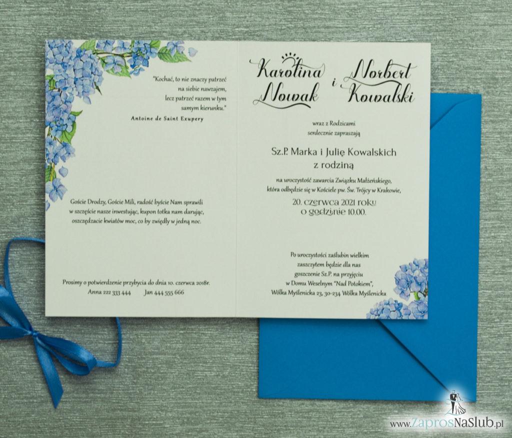 ZAP-35-06 Kwiatowe zaproszenia ślubne z niebieską hortensją niebieskie personalizowane