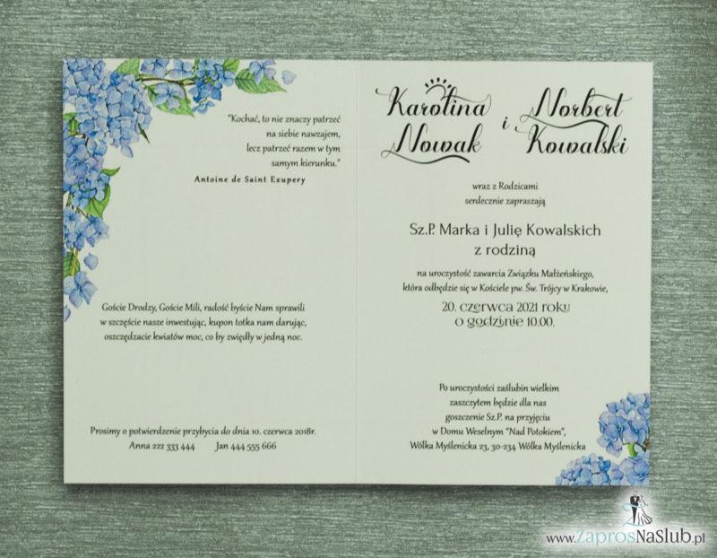 ZAP-35-06 Kwiatowe zaproszenia ślubne z niebieską hortensją rebusy slubne
