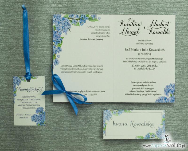 ZAP-35-06 Kwiatowe zaproszenia ślubne z niebieską hortensją slub 2020