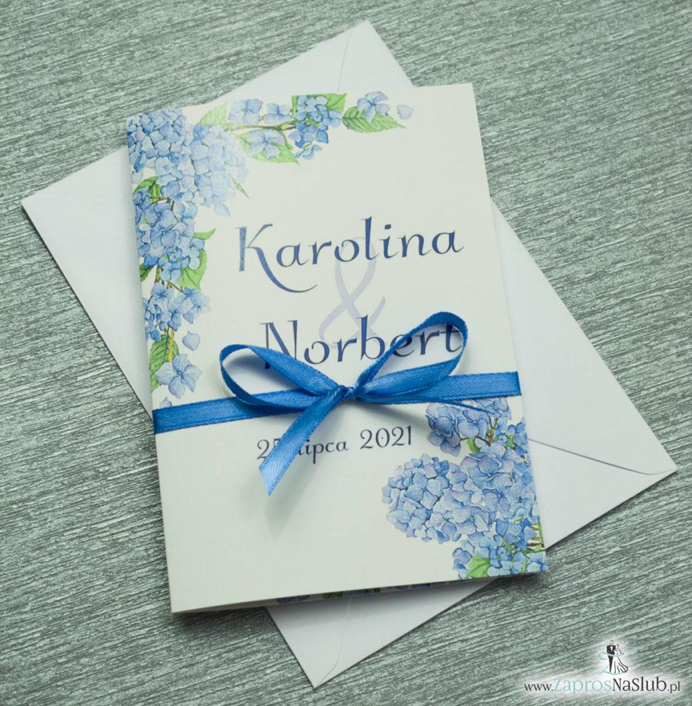 ZAP-35-06 Kwiatowe zaproszenia ślubne z niebieską hortensją winietki zawieszki