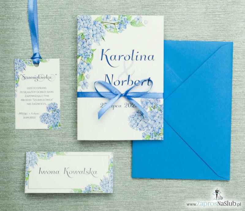 ZAP-35-06 Kwiatowe zaproszenia ślubne z niebieską hortensją z kolroową koperta