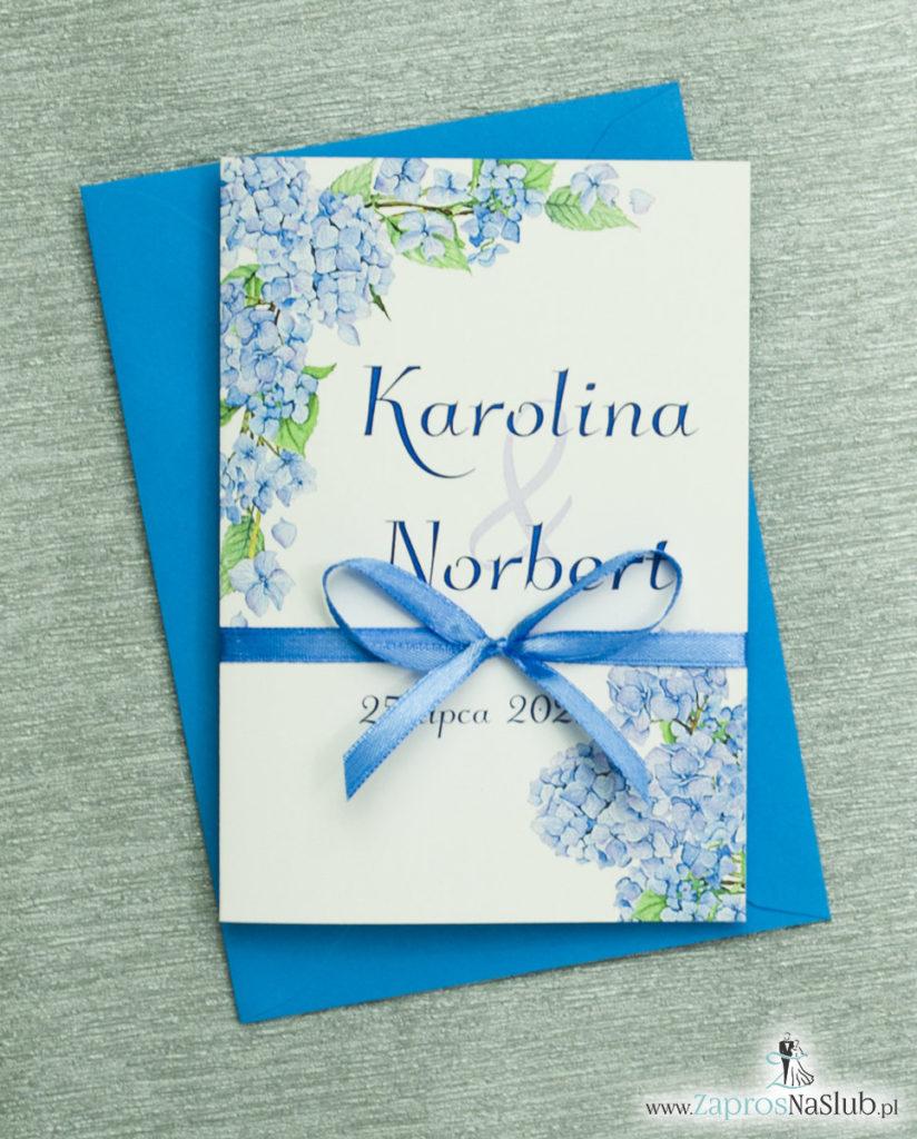 ZAP-35-06 Kwiatowe zaproszenia ślubne z niebieską hortensją zaprosnaslub.pl kwiatowe 2019