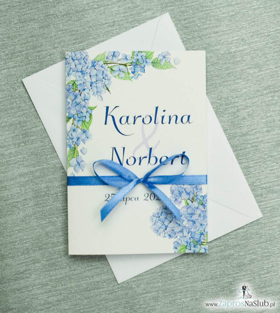 ZAP-35-06 Kwiatowe zaproszenia ślubne z niebieską hortensją zaprosnaslub.pl zaproszenia na slub z kwiatami