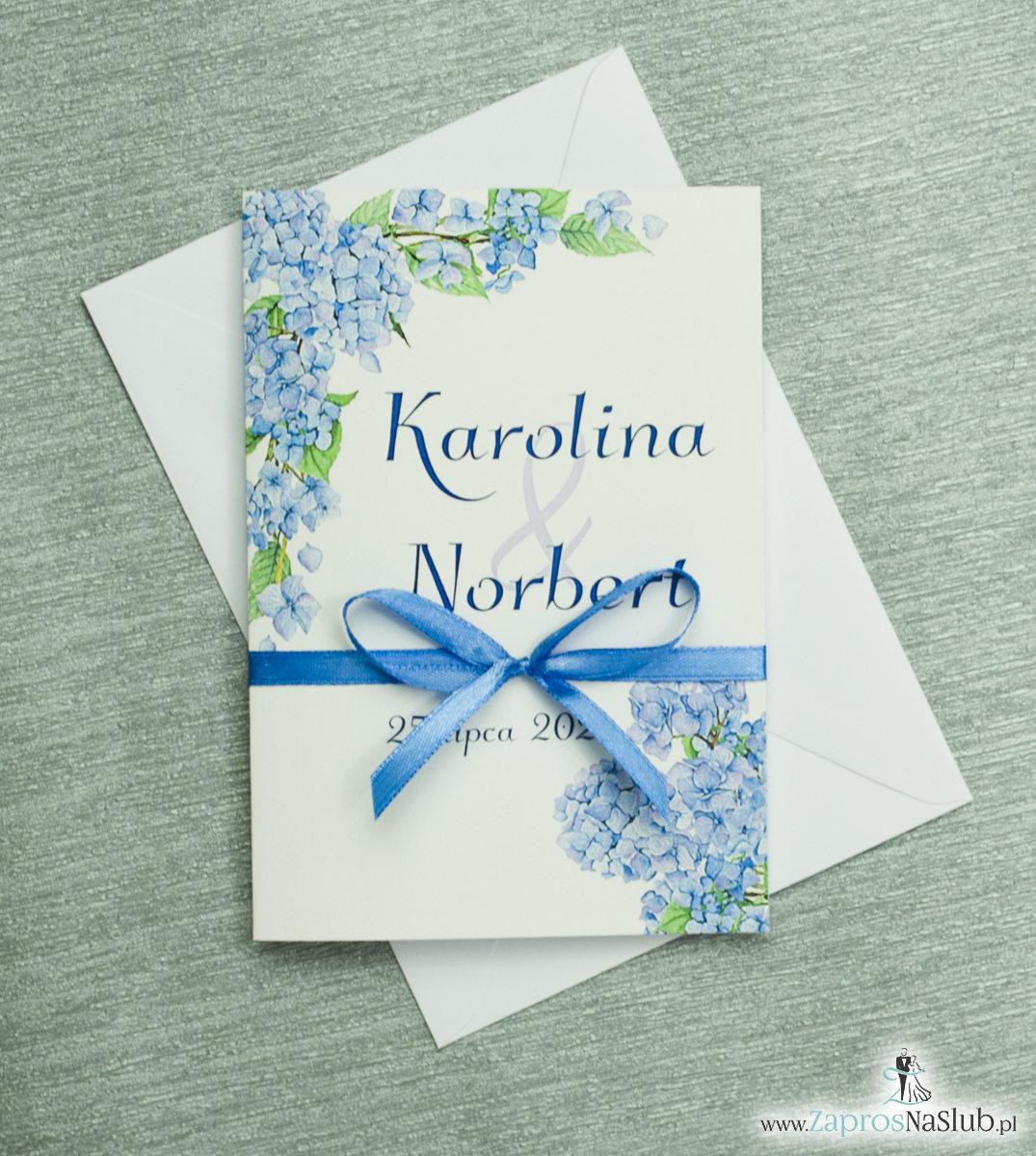 Kwiatowe zaproszenia ślubne z niebieską hortensją. ZAP-35-06