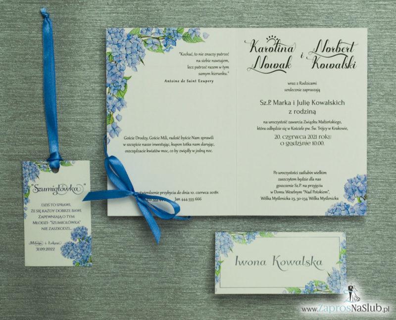 ZAP-35-06 Kwiatowe zaproszenia ślubne z niebieską hortensjąkomplet dodatkow slubnych