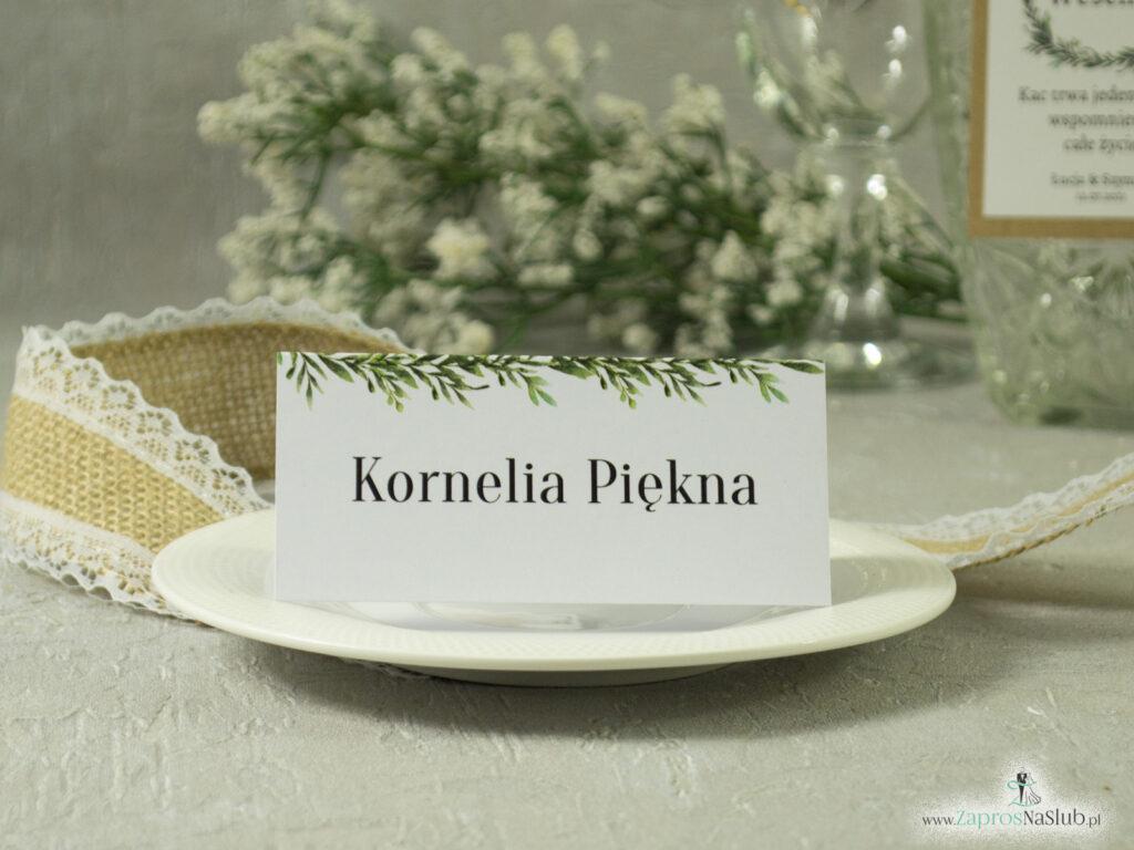 Winietka biała w stylu rustykalnym z zielonymi liśćmi WIN-111-2