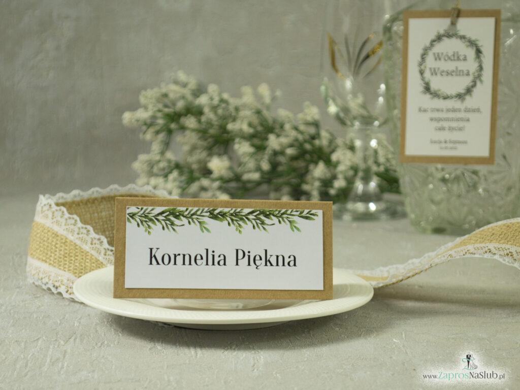 Winietka eko klejona w stylu rustykalnym z naklejanym białym papierem z zielonymi liśćmi WIN-111-1