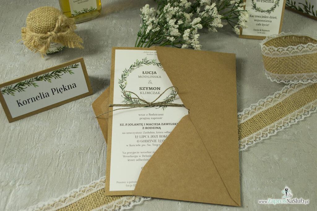 Zaproszenie ślubne w formacie DL eko z motywem zielonych liści i wianka ze sznurkiem eko w koperta eko zestaw- ZAP-111