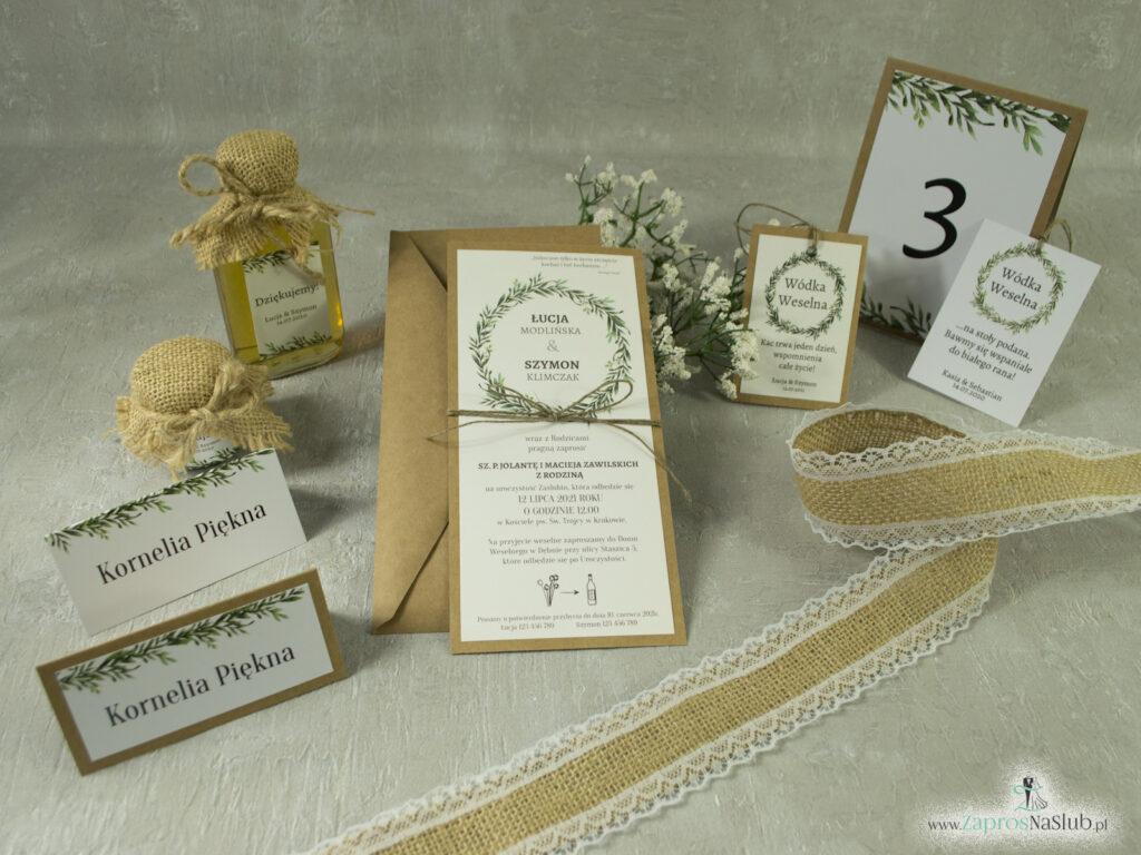 Zaproszenie ślubne w formacie DL eko z motywem zielonych liści i wianka ze sznurkiem eko, winietka, zawieszka, numer stołu, słoiczek, butelka - KOLEKCJA 111