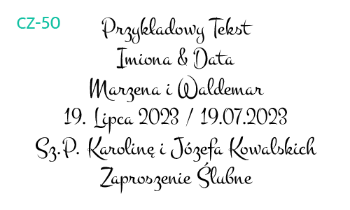 Dłuższy fragment czcionki CZ-50