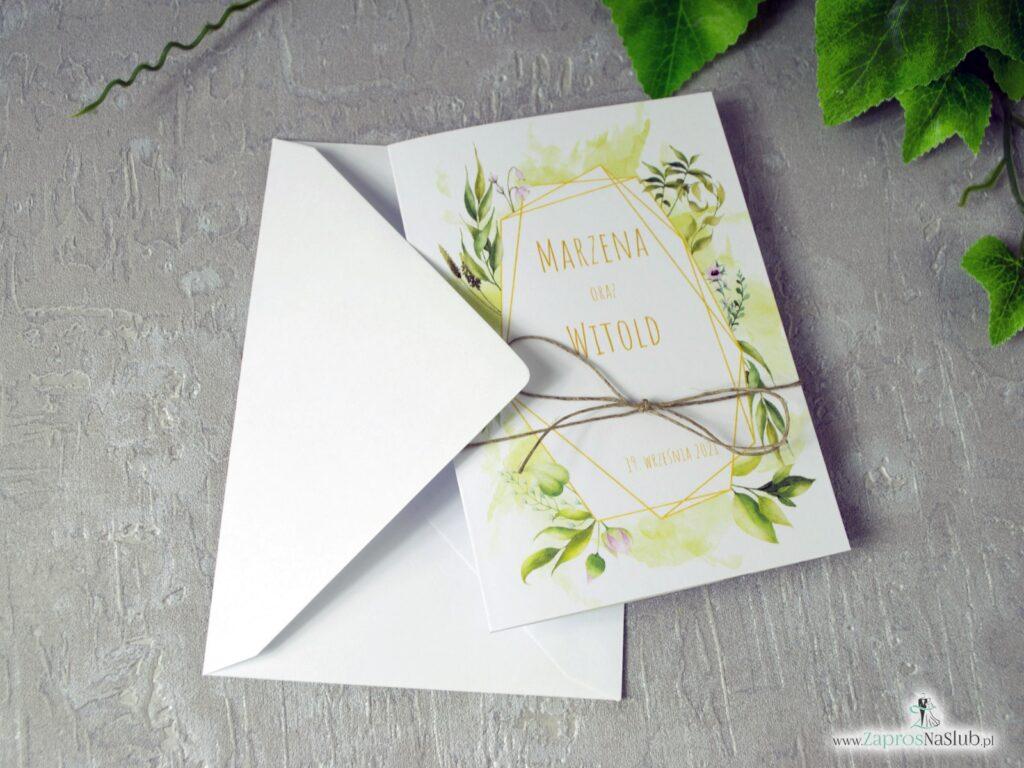 Ślubne zaproszenia geometryczne, rustykalne z motywem liści zielonych i przewiązane sznurkiem ZAP-41-01