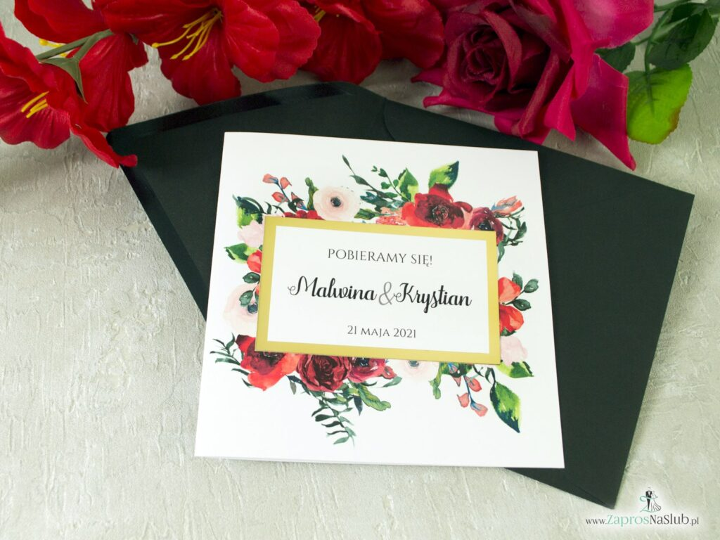 Ślubne zaproszenia kwiatowe, czerwone róże, zielone liście, modne złote, efekt lustra ZAP-114-min