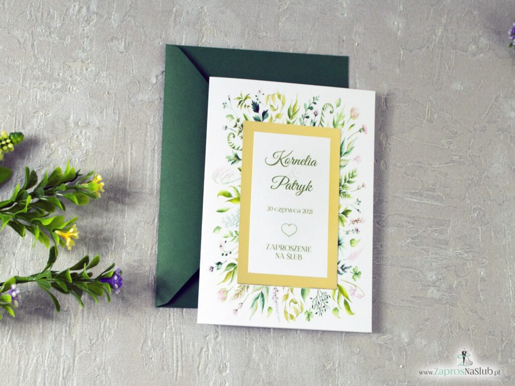 Ślubne zaproszenia w stylu rustykalnym z motywem zieloych liści, botaniczne, złote lustro papier ZAP-123