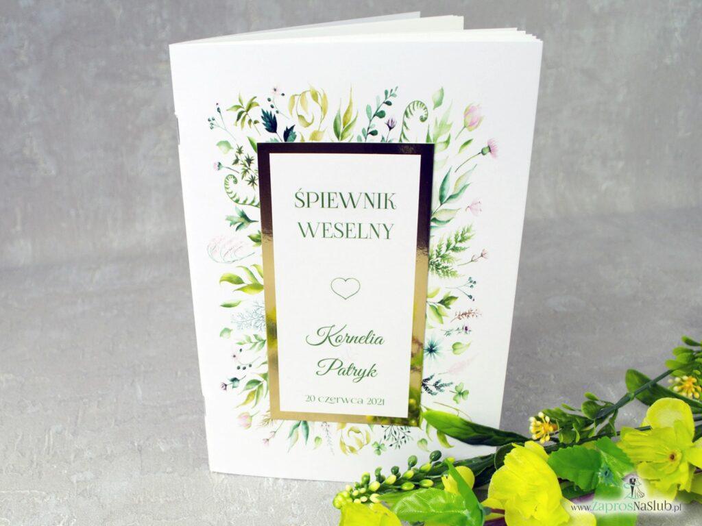 Śpiewnik na wesele, styl rustykalny, liście w różnych odcieniach, papier złote lustro SPW-123-min