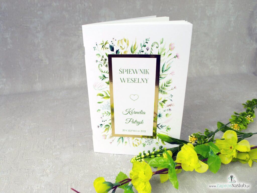 Śpiewnik weselny w rustykalnym stylu z liśćmi w różnych kolorach z dodatkiem złotego papieru z efektem lustra, elegancki, botaniczny SPW-123-min