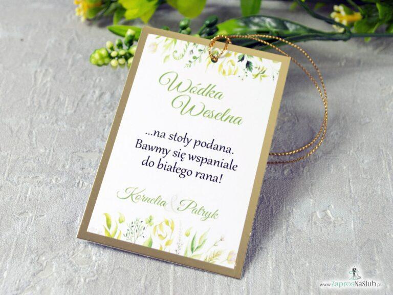 Eleganckie zawieszki na alkohol w stylu rustykalnym z liśćmi w różnych odcieniach na złotym papierze z efektem lustra. ZAW-123-1 - ZaprosNaSlub