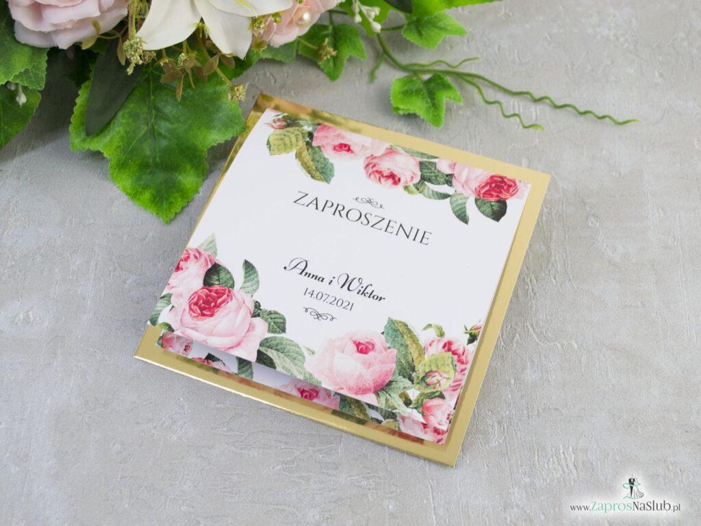 Eleganckie kwiatowe zaproszenie ślubne z różami oraz zielonymi liśćmi ZAP-110-min