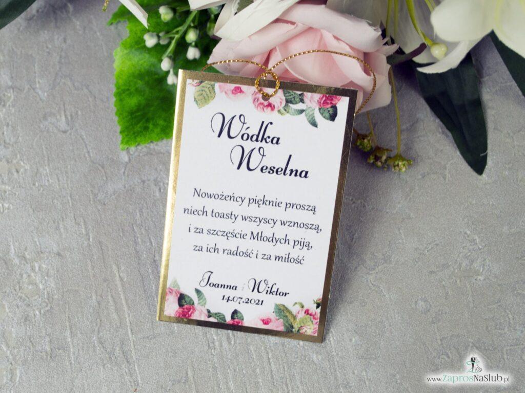 Eleganckie zawieszki na alkohol z kwiatami róży na złotym papierze ZAW-110-1-min