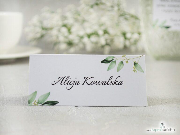 ZaprosNaSlub - Zaproszenia ślubne, personalizowane, boho, rustykalne, kwiatowe księga gości, zawieszki na alkohol, winietki, koperty, plany stołów - Winietka w stylu rustykalnym z motywem gałązek z zielonymi liśćmi. WIN-115